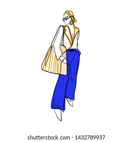 Stylized abstract woman portrait. Female beauty figure logo with orange, blue and black colors elements. One line continuous model. Girl in sunglasses, jacket, trousers and shopper