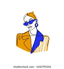 Stylized abstract woman portrait. Female beauty figure logo with orange, blue and black colors elements. One line continuous model. Girl in sunglasses and jacket