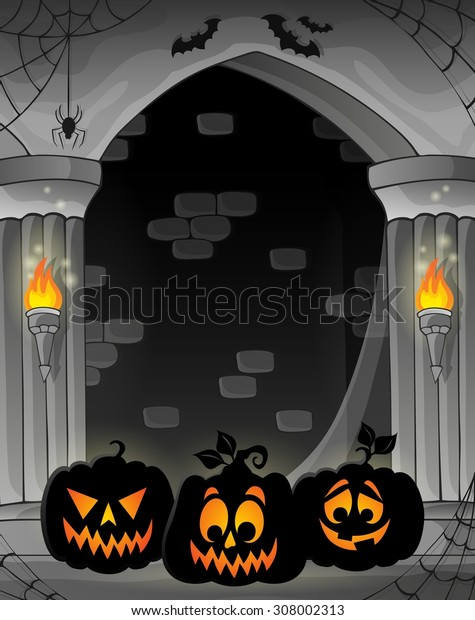 Stylized alcove with pumpkin silhouettes - eps10 vector illustration.