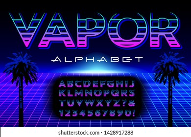A stylized alphabet constructed with horizontal strokes. This font is in the style and color palette of vaporwave or synthwave graphics