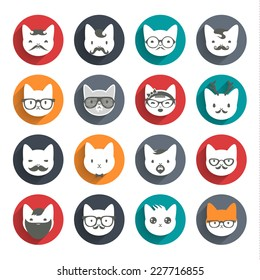 Stylized animal avatar set in flat style for social networks: character cats
