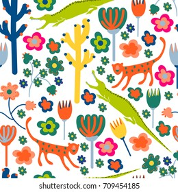 Stylized animals and flowers. Seamless pattern in bright colors.