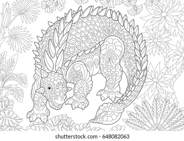 Stylized ankylosaurus dinosaur of the Cretaceous period. Freehand sketch for adult antistress coloring book page with doodle and zentangle elements.