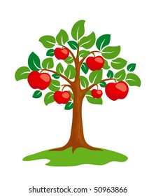 Stylized apple-tree. EPS8 vector.