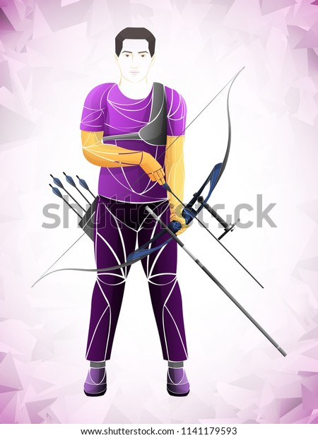 Stylized Archer Athlete Purple Pink Stock Vector (Royalty