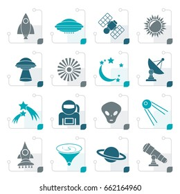 Stylized astronautics, space and universe icons - vector icon set
