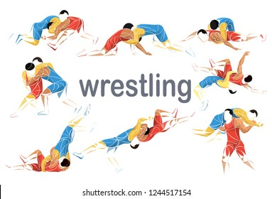 stylized athlete sport vector wrestling set