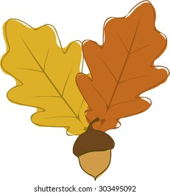 Stylized autumn oak leaves and acorn