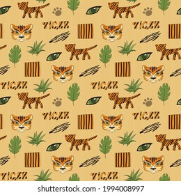 Stylized background with cartoon tiger. Bright cheerful pattern with a tiger for children.