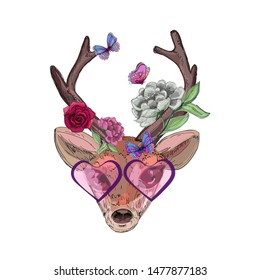 stylized bambi head, sunglasses, butterflies and roses element, fores fairy, print for textile texture, phone case, cover sketchbook