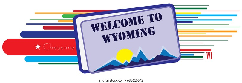 Stylized banner for Wyoming - Welcome to Wyoming.