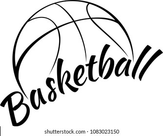Stylized basketball with the word basketball in a fun font below.