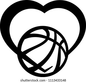 stylized basketball wrapped in the bottom of a heart.