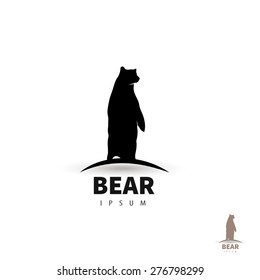 Stylized bear logo design template. Artistic animal silhouette. Creative concept logotype for your company. Vector illustration.