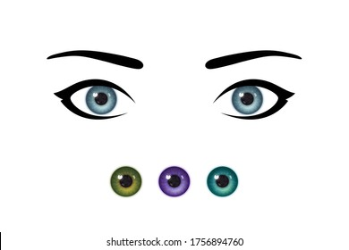 Stylized beautiful woman's eyes and realistic irises, set of irises of natural and unnatural colors. Design for ophthalmology service. Concept of healthy eyes and beauty trends