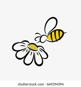 Stylized bee and flower
