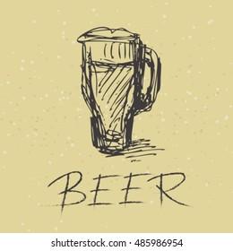 Stylized beer mug on a beige background.