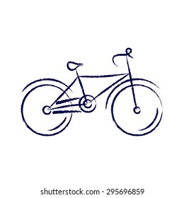 stylized bicycle, drawing with chalk. chalk bike.bicycle isolated on white background.  bicycle logo. vector illustration