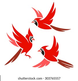 Stylized Bird - Northern Cardinal