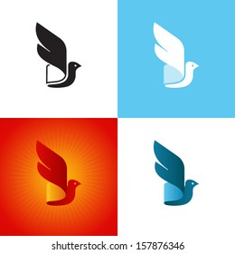 Stylized bird silhouette at different color variations. Vector icon.