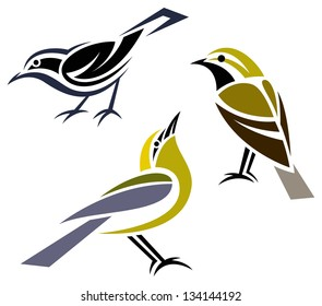 Stylized birds - Black-throated Green Warbler, Black-and-White Warbler and Blue-winged Warbler