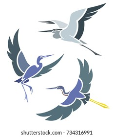 Stylized Birds - Herons in flight