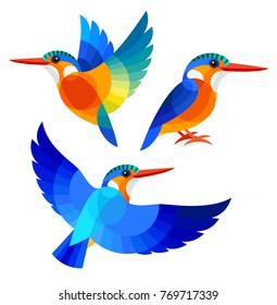 Stylized Birds - Malachite Kingfisher
