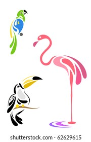 Stylized birds - parrot, toucan and flamingo