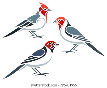 Stylized Birds - Red-headed Cardinals