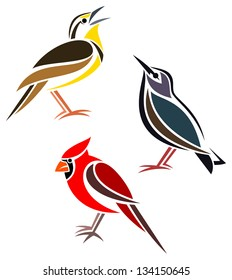 Stylized birds - Western Meadowlark, Common Starling and Northern Cardinal