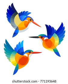 Stylized Birds - White-bellied Kingfisher, Malagasy Kingfisher and Malachite Kingfisher in flight