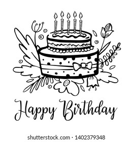 Stylized birthday cake with candles, flowers and wishing. Hand drawn cartoon outline vector black sketch  illustration isolated on white background