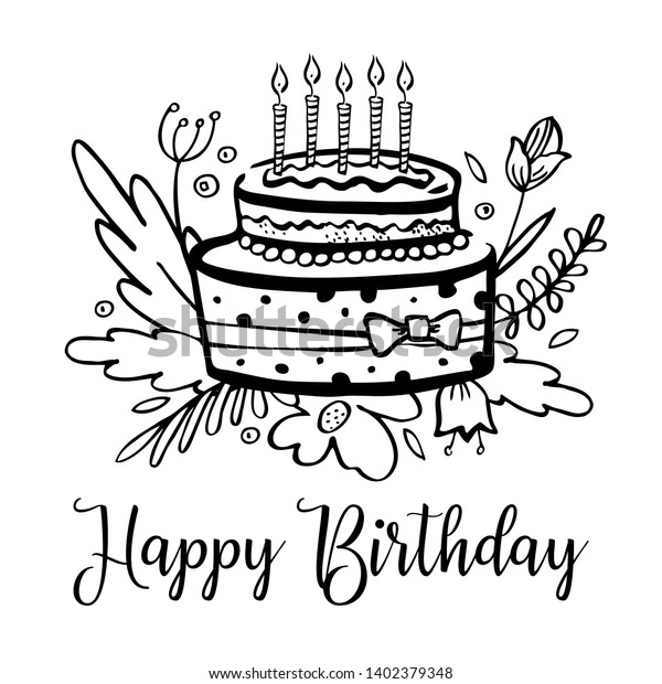 Magnificent Stylized Birthday Cake Candles Flowers Wishing Stock Vector Funny Birthday Cards Online Inifofree Goldxyz