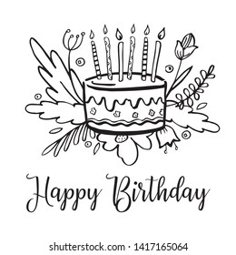 Stylized birthday cake with candles, wishing, decorative flowers and plants . Hand drawn doodle cartoon vector black and white sketch  illustration isolated on white background