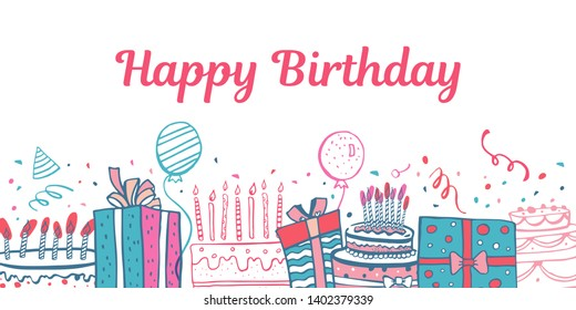 Stylized birthday cakes, gift boxes, balloons. Hand drawn cartoon colorful vector doodle sketch illustration on white background. Print design template