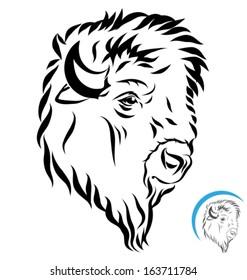 stylized bison head. Side view- black outlines. Vector illustration