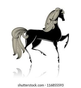 Stylized black beautiful horse