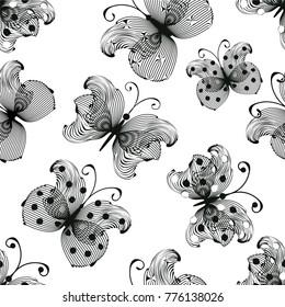 Stylized black butterflies on white backdrop in seamless pattern
