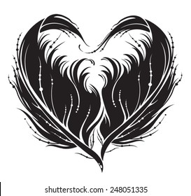 Stylized black heart made by feather in vector.