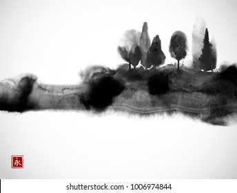 Stylized black ink wash painting with misty forest trees on white background. Traditional oriental ink painting sumi-e, u-sin, go-hua. Hieroglyph - eternity.