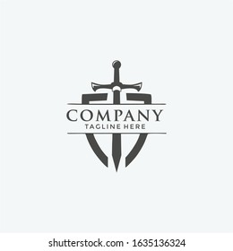 Stylized Black Metal Battle Sword vector logo