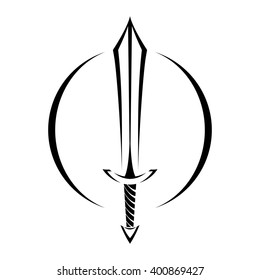 Stylized Black Metal Battle Sword vector logo