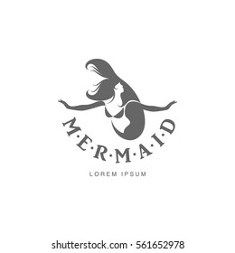 Stylized black and white graphic logo template with long haired mermaid turned profile, vector illustration isolated on white background. Black white stylized swimming mermaid logotype, logo design