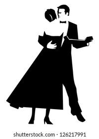 A stylized black and white line art drawing of an Elegant couple dancing at a black tie event.