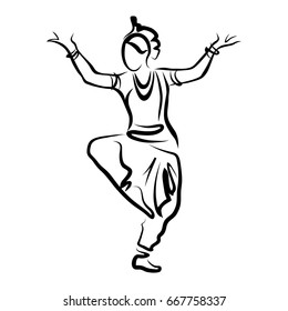 Stylized black and white logo dancing Indian woman for design, silhouette of oriental girl in dance