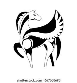 Stylized black and white Pegasus. Vector illustration.