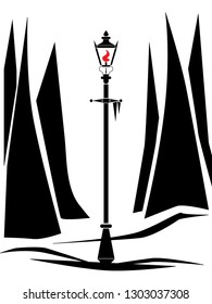 stylized black and white vector drawing of lamppost in a snowy clearing.
