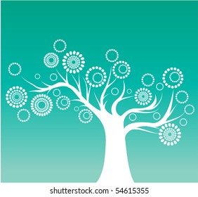 Stylized blooming tree
