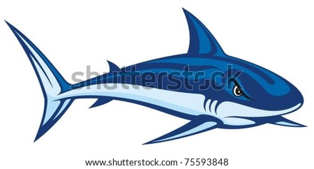 Stylized blue cartoon illustration of a shark.