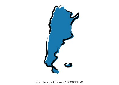 Stylized blue sketch map of Argentina